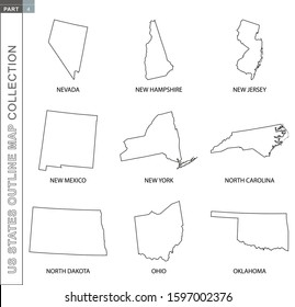 Outline maps of US states collection, nine black lined vector map of Nevada, New Hampshire, New Jersey, New Mexico, New York, North Carolina, North Dakota, Ohio, Oklahoma