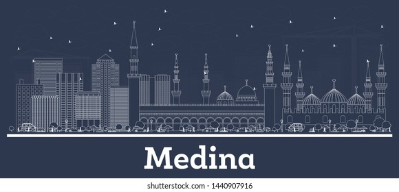 Outline Medina Saudi Arabia City Skyline with White Buildings. Vector Illustration. Business Travel and Tourism Concept with Modern Architecture. Medina Cityscape with Landmarks.