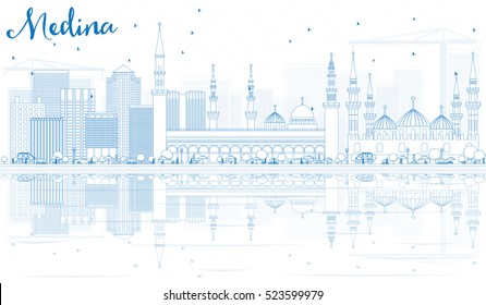 Outline Medina Skyline with Blue Buildings and Reflections. Vector Illustration. Business Travel and Tourism Concept with Historic Architecture. Image for Presentation Banner Placard and Web Site.