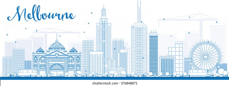 Outline Melbourne Skyline with Blue Buildings. Vector Illustration. Business Travel and Tourism Concept with Modern Buildings. Image for Presentation Banner Placard and Web Site.