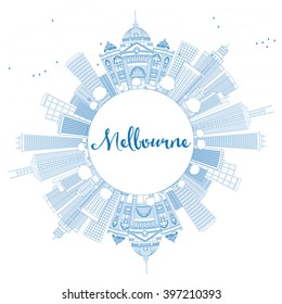 Outline Melbourne Skyline with Blue Buildings. Vector Illustration. Business Travel and Tourism Concept with Copy Space. Image for Presentation Banner Placard and Web Site.