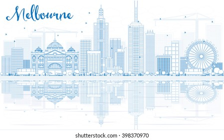 Outline Melbourne Skyline with Blue Buildings and Reflections. Vector Illustration. Business Travel and Tourism Concept with Modern Buildings. Image for Presentation Banner Placard and Web Site.