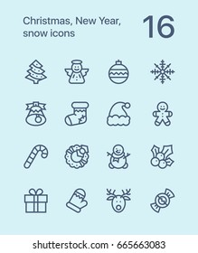 Outline Merry Christmas and Happy New Year icons for web and mobile design pack 1