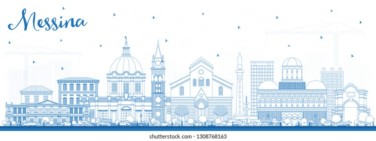 Outline Messina Sicily Italy City Skyline with Blue Buildings. Vector Illustration. Business Travel and Concept with Modern Architecture. Messina Cityscape with Landmarks.