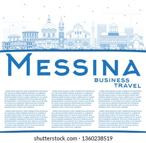 Outline Messina Sicily Italy City Skyline with Blue Buildings and Copy Space. Vector Illustration. Business Travel and Concept with Modern Architecture. Messina Cityscape with Landmarks.