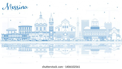 Outline Messina Sicily Italy City Skyline with Blue Buildings and Reflections. Vector Illustration. Business Travel and Concept with Modern Architecture. Messina Cityscape with Landmarks.