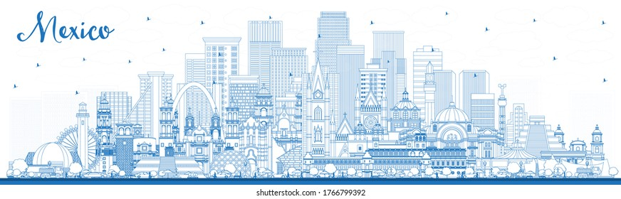 Outline Mexico (Country) City Skyline with Blue Buildings. Vector Illustration. Concept with Historic Architecture. Mexico Cityscape with Landmarks. Puebla. Mexico. Tijuana. Guadalajara.
