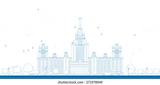 Outline MGU. Moscow State University, Moscow, Russia. Vector illustration with cars. Business travel and tourism concept with historic building
