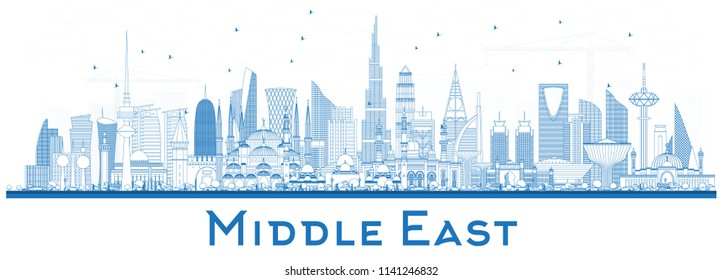 Outline Middle East City Skyline with Blue Buildings Isolated on White. Vector Illustration. Dubai, Kuwait, Abu Dhabi, Doha, Jeddah. Travel and Tourism Concept with Modern Architecture.