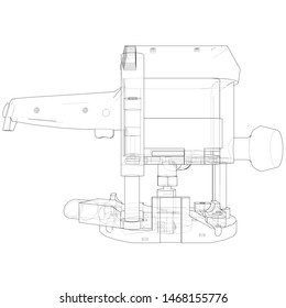 Outline milling machine. Vector image rendered from 3d model in sketch style or drawing. Blue background