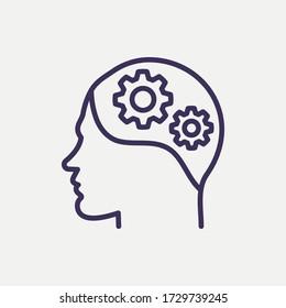 Umreißende Darstellung der Einstellung icon.mindset-Vektorgrafik. Symbol für Web und mobil