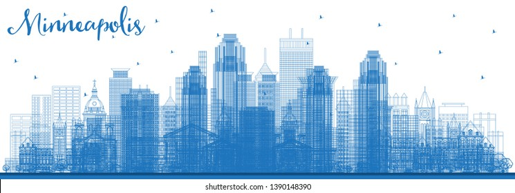 Outline Minneapolis Minnesota USA Skyline with Blue Buildings. Vector Illustration. Business Travel and Tourism Concept with Modern Architecture. Minneapolis Cityscape with Landmarks.