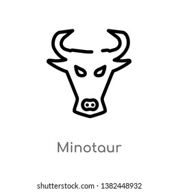 outline minotaur vector icon. isolated black simple line element illustration from greece concept. editable vector stroke minotaur icon on white background