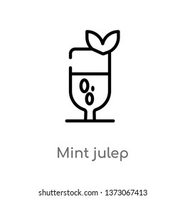 outline mint julep vector icon. isolated black simple line element illustration from drinks concept. editable vector stroke mint julep icon on white background