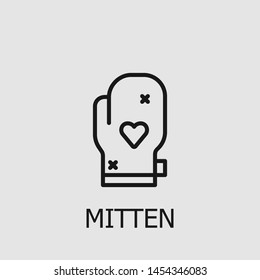 Outline mitten vector icon. Mitten illustration for web, mobile apps, design. Mitten vector symbol.
