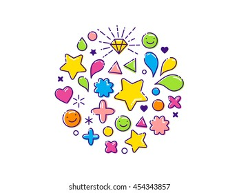 Outline modern colorful background with line, happy icons, stars, hearts, diamond
