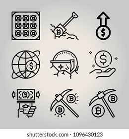 Outline money 9 vector icons set. 9 icons page symbol for your web site design. logo, app, ui, illustration, eps10 such as atm, mining, bitcoin, profits, map