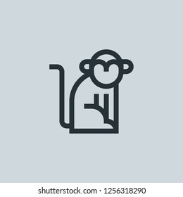 Outline monkey vector icon. Monkey illustration for web, mobile apps, design. Monkey vector symbol.