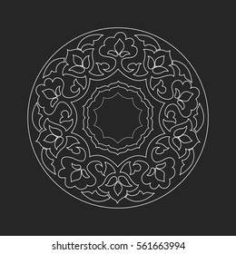 Outline monochrome islamic pattern. Circle vintage frame.