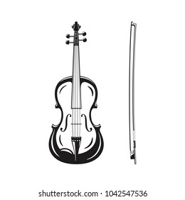 Outline monochrome silhouette of icon violin with bow, classical musical instrument, vector illustration