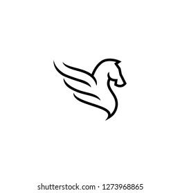Outline monoline pegasus logo, horse and wing icon vector