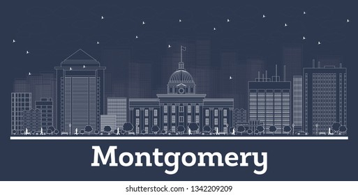 Outline Montgomery Alabama City Skyline with White Buildings. Vector Illustration. Business Travel and Concept with Modern Architecture. Montgomery Cityscape with Landmarks.