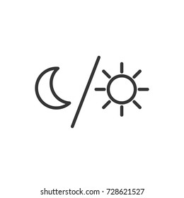 Outline moon and sun  icon illustration vector symbol
