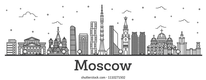 Outline Moscow Russia City Skyline with Modern and Historic Buildings Isolated on White. Vector Illustration. Moscow Cityscape with Landmarks.