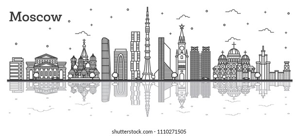 Outline Moscow Russia City Skyline with Historic Buildings and Reflections Isolated on White. Vector Illustration. Moscow Cityscape with Landmarks.