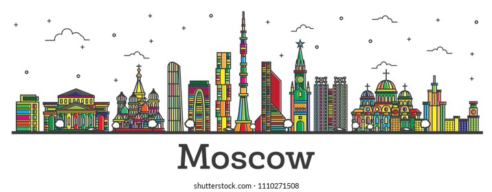 Outline Moscow Russia City Skyline with Color Buildings Isolated on White. Vector Illustration. Moscow Cityscape with Landmarks.