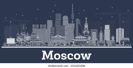Outline Moscow Russia City Skyline with White Buildings. Vector Illustration. Business Travel and Tourism Illustration with Modern Architecture. Moscow Cityscape with Landmarks.