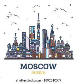 Outline Moscow Russia City Skyline with Colored Historic Buildings Isolated on White. Vector Illustration. Moscow Cityscape with Landmarks.