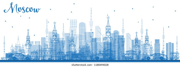 Outline Moscow Russia Skyline with Blue Buildings. Vector Illustration. Business Travel and Tourism Illustration with Modern Architecture. Moscow Cityscape with Landmarks.
