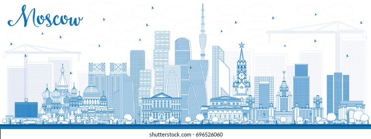 Outline Moscow Russia Skyline with Blue Buildings. Vector Illustration. Business Travel and Tourism Illustration with Modern Architecture.