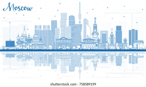 Outline Moscow Russia Skyline with Blue Buildings and Reflections. Vector Illustration. Business Travel and Tourism Illustration with Modern Architecture.