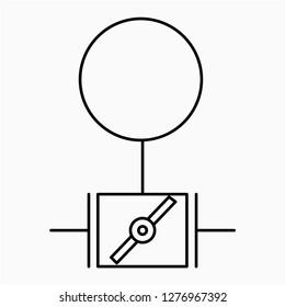 Outline motor damper symbol vector icon