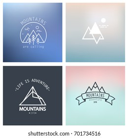 Outline mountain icon set. Vector blurred background.