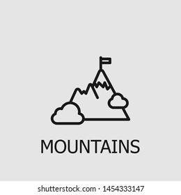 Outline mountains vector icon. Mountains illustration for web, mobile apps, design. Mountains vector symbol.
