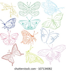 outline multicolored butterflies silhouettes for design
