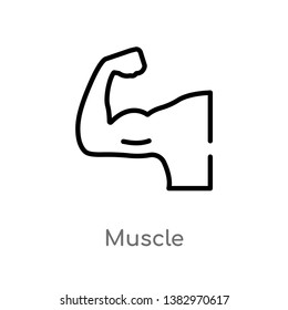 outline muscle vector icon. isolated black simple line element illustration from health concept. editable vector stroke muscle icon on white background