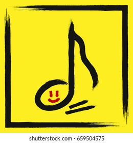 Outline musical notes with smiling face in torn frame. Drawn with a rough brush. Grunge, sketch, graffiti, ink, watercolor. Vector illustration. Red, black, yellow colour.