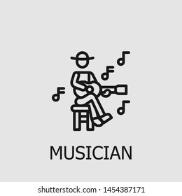 Outline musician vector icon. Musician illustration for web, mobile apps, design. Musician vector symbol.