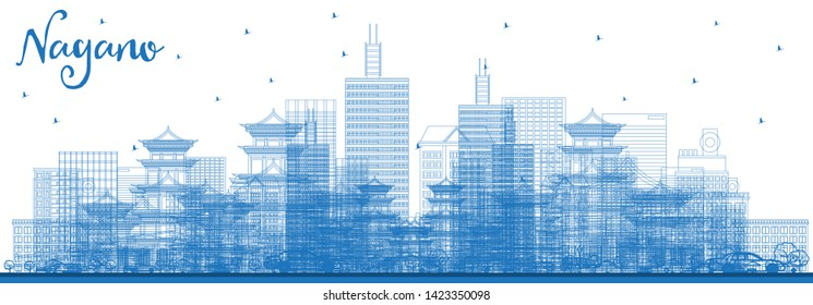 Outline Nagano Japan City Skyline with Blue Buildings. Vector Illustration. Business Travel and Tourism Concept with Modern Architecture. Nagano Cityscape with Landmarks.