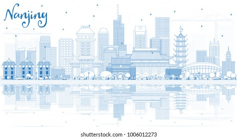 Outline Nanjing China City Skyline with Blue Buildings and Reflections. Vector Illustration. Business Travel and Tourism Illustration with Modern Architecture. Nanjing Cityscape with Landmarks.