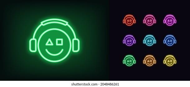 Outline neon gamer icon. Glowing neon emoticon gamer with headphones, esports geek logo. Gaming emoji, esports emoticon, arcade console video games. Vector icon set, sign, symbol for UI