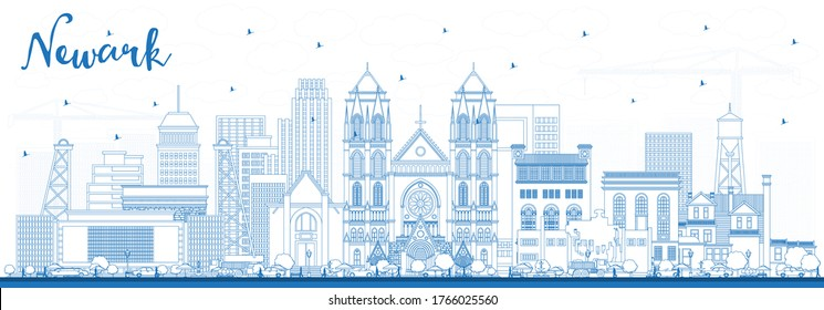 Outline Newark New Jersey City Skyline with Blue Buildings. Vector Illustration. Newark Cityscape with Landmarks. Business Travel and Tourism Concept with Modern Architecture.