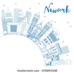Outline Newark New Jersey City Skyline with Blue Buildings and Copy Space. Vector Illustration. Newark Cityscape with Landmarks. Travel and Tourism Concept with Modern Architecture.