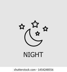 Outline night vector icon. Night illustration for web, mobile apps, design. Night vector symbol.