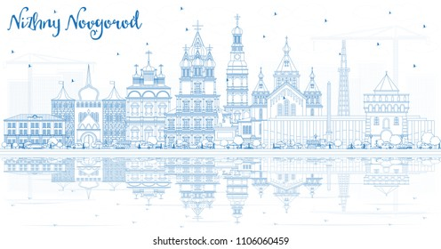 Outline Nizhny Novgorod Russia City Skyline with Blue Buildings and Reflections. Vector Illustration. Travel and Tourism Concept with Historic Architecture. Nizhny Novgorod Cityscape with Landmarks.