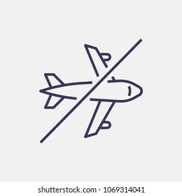 Outline no airplane icon illustration vector symbol
